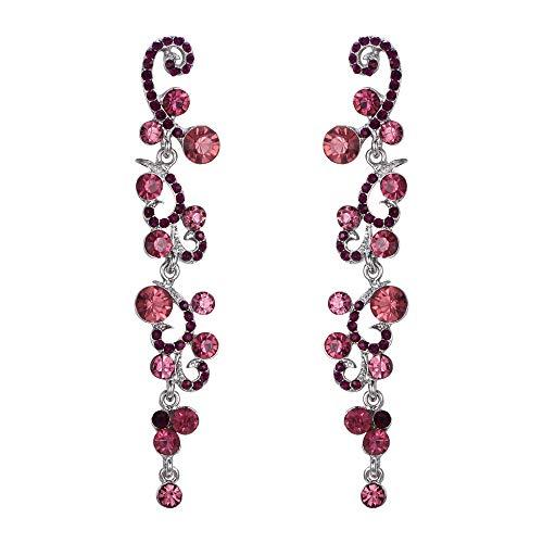 (EVER FAITH Bridal Flower Wave Austrian Crystal Dangle Earrings Silver-Tone - Purple)