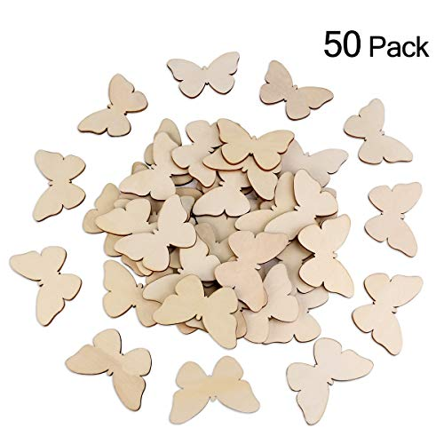 Tinksky Wooden Butterfly Cutouts Craft Embellishment Gift Tag Wood for DIY,Pack of 50 (Mixed -