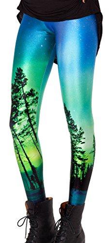 Ladies Seamless Shiny Skinny Printed Leggings Tight Pant Green Blue Tree in Life