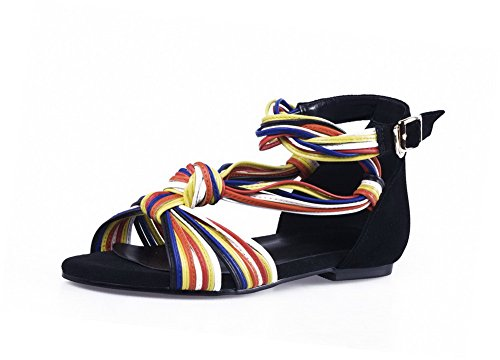 AmoonyFashion Womens Frosted Open-Toe No-Heel Buckle Assorted Color Sandals Black 95EF2JPFhD