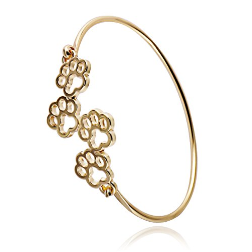 RUXIANG Dog and Cat Four Paw Print Animal Hook Opening Bracelet Jewelry(gold)