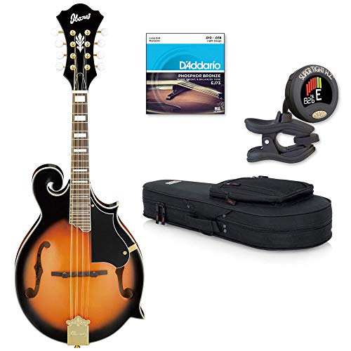 (Ibanez M522SBS F-Style Mandolin, Brown Sunburst High Gloss with Strings, Tuner and Gig Bag)