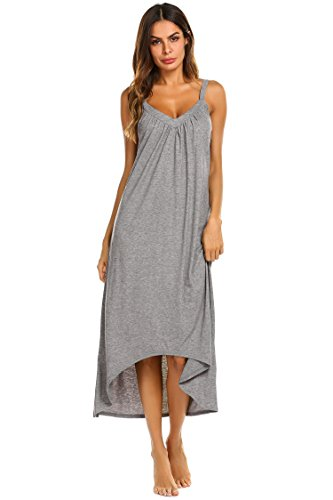 Ekouaer Womens Sleeveless Long Nightgown Summer Slip Night Dress Cotton Sleepshirt Chemise (A-Flower Grey_6696, Small) ()