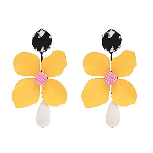 Idealway Large Exaggerated Earrings Flower Enamel Acrylic Resin Beads Drop Dangle Earrings (Yellow) (Bead Earrings Acrylic)