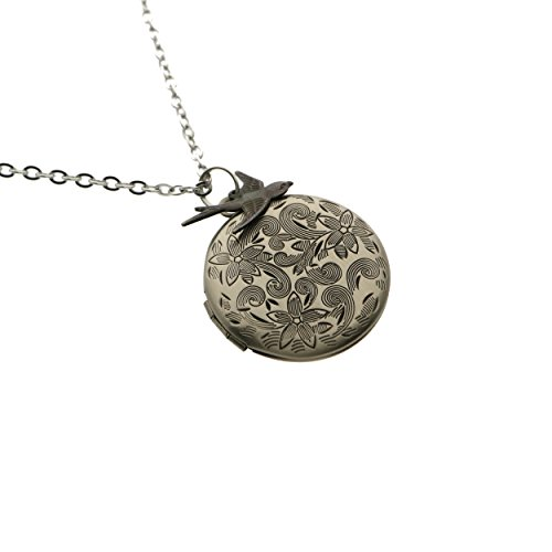 Antiqued Silver Flower Engraved Swallow Charm Photo Locket Pendant Necklace (Photo Locket Necklace)