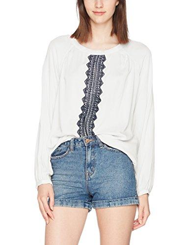 Vero Moda Vmjas L/S Midi Top Dnm, Blusa para Mujer Blanco (Snow White Detail:embroidery In Navy Blazer)