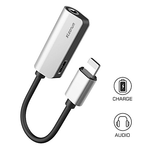 iPhone 7 Adapter 2 in 1, Steanum Lightning to 3.5mm AUX Headphone Jack Splitter (Audio + Charge) Compatible with iOS 11 - No Calling Function and Music Control (Silver)