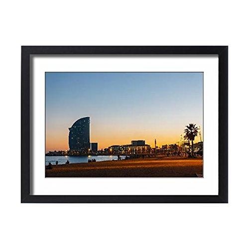 Framed 24x18 Print of Sunset at Barceloneta beach, Barcelona, Spain (13505990) by Media Storehouse