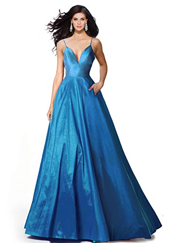 SUMINTRAS Alluring deep v-Neck Side Pockets a line lace-up Back Taffeta Ball Gown Prom Formal Dress (L, Peacock)