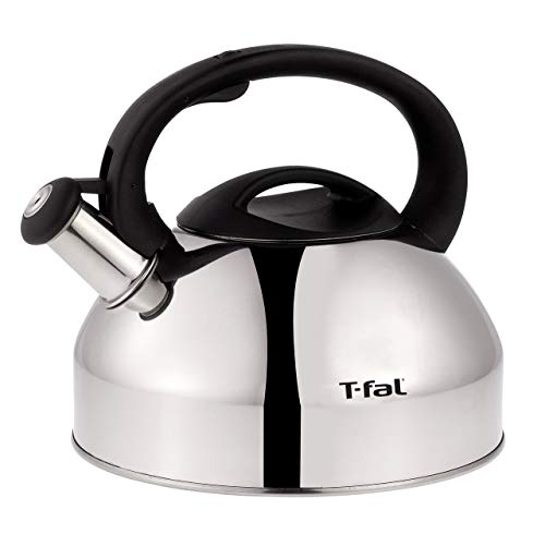 T-fal C76220 Specialty Stainless Steel Dishwasher Safe Whistling Coffee and Tea Kettle, 3-Quart, Silver (Renewed) (Dishwasher Safe Stainless Steel Kettle)