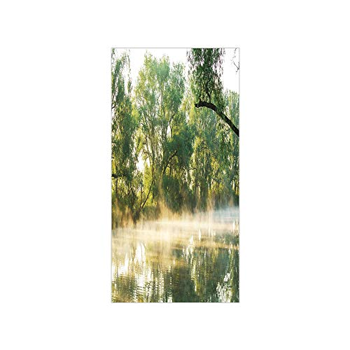 Decorative Privacy Window Film/Surreal Misty Lake Scene in the Forest Woodland Sunny Summer Morning Image/No-Glue Self Static Cling for Home Bedroom Bathroom Kitchen Office Decor Olive and Fern Green