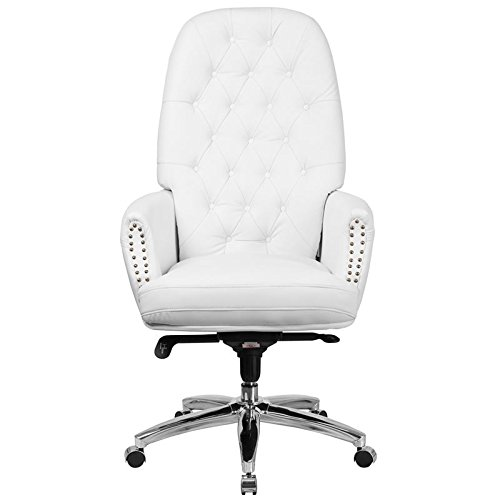 Italica Heavenly Soft Leather Tufted High Back Manicure or Client Chair For Salons and Spas (White) - 19' Caster Base