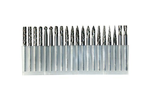 YUFUTOL-20pcs 1/8inch (3mm) Shank Solid Tungsten Carbide Double Cut Rotary Files Burrs Set With 3mm Cutting Head diameter Fits Most Rotary Drill Die Grinder For Engraving,Drilling,Carving.