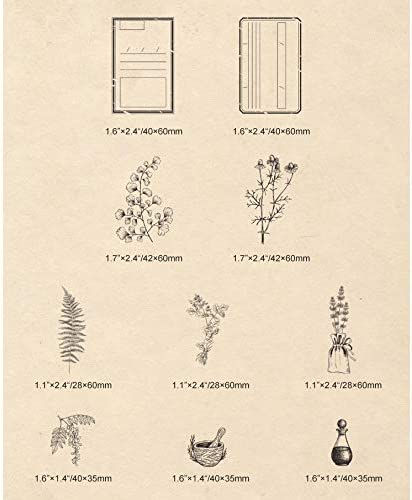 Cliocoo 10pcs Plants Herbs Flowers Wood Rubber Stamp Set M-67