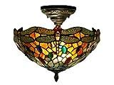 Dale Tiffany TH12235 Sonota Semi Flush Mount Light Fixture - Dark Antique Brass