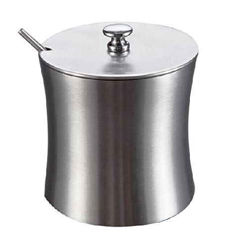 Azucarero azucarero con cuchara y tapa de pared único de acero inoxidable utensilios de cocina, Dimensión 9 x 8 cm