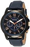 Fossil Men's Grant Quartz Leather Chronograph Watch, Color: Blue, Black (Model: FS5061IE)