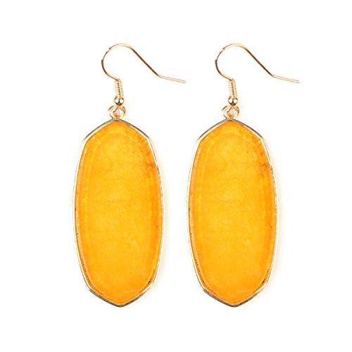 Riah Fashion Women's Natural Stone Fish Hook Earrings (Yellow) (Yellow Earring Fish)