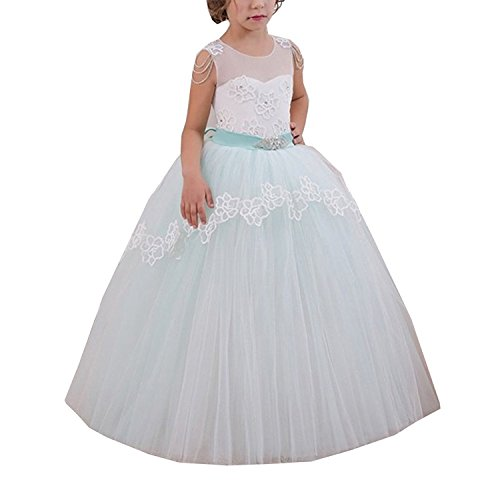 Abiti Ball per ABWedding Light Green comunione Girl prima Gown Flower vTqwUYB