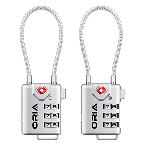 ORIA Luggage Lock,TSA Approved Locks, Cable Travel Lock, Safe Padlock for Suitcases, Baggage,Small Cabinets(Silver, Set of 2)
