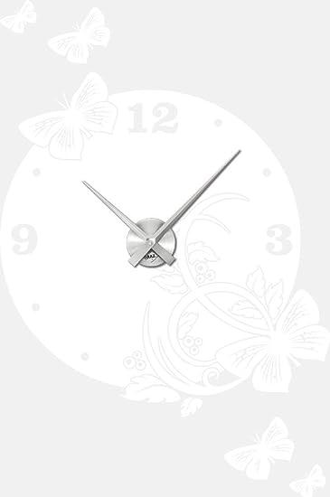 Graz Design 800149_AL_010 Wandtattoo Uhr Wanduhr Modern Ornament Mit  Schmetterlingen Deko Fr Wohnzimmer (Uhr Silber