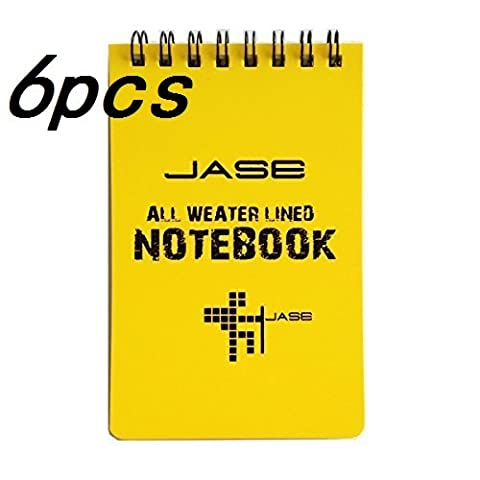 Ellami Set of 6 Yellow Waterproof/All Weather/Shower/Aqua Notes/Notepad/Notebook (Notes From Underground Norton)