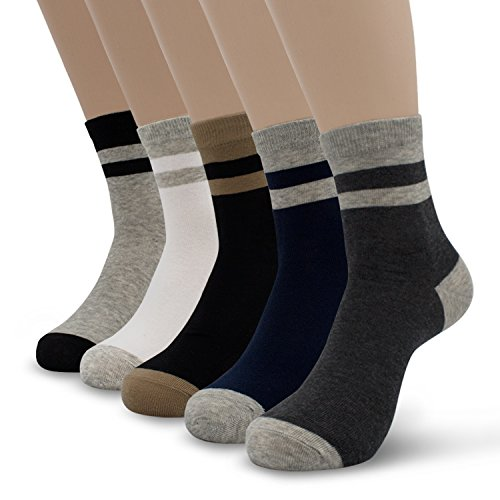 Men's 5-Pack Two Tone Striped Crew Socks