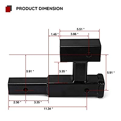 YITAMOTOR Dual Receiver Extender Trailer Towing Hitch Extension Bicycle Extender (GTW- 4000 lb.): Automotive
