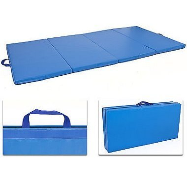 "4'x8'x2"" Gymnastics Gym Folding Exercise Aerobics Mats Blue Stretching Yoga Mat"