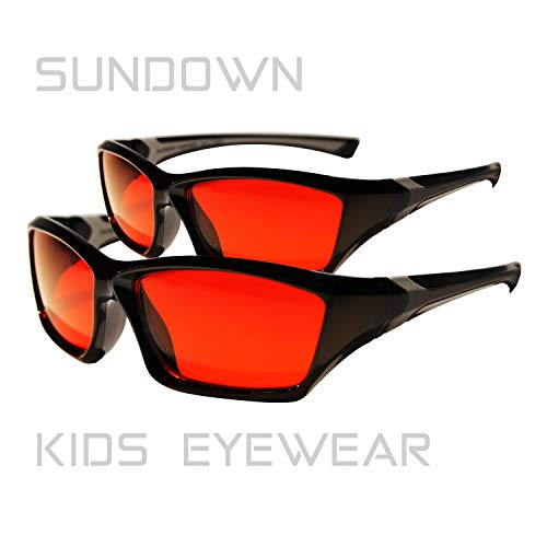 Blue Blocking Glasses for Kids - Pre-Sleep - PaleoTech® Lite Lens - Blocks 99% Blue & Green Light - Studies validate RED is Best for pre-Sleep - Calm Kids Evening - Light Eyewear