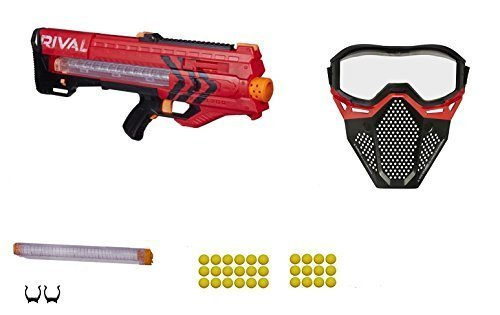 Nerf Rival Red Team Zeus MXV-1200 Blaster, Spare 12 round Magazine, and Safety Mask Gift Bundle