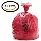 Vakly Biohazard Waste Disposable Bag 24''X24'', 10 GAL 13 MIC (Roll of 50)