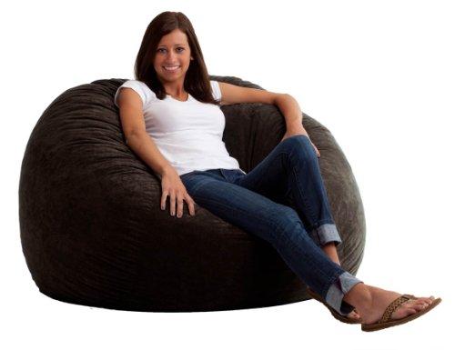 Big Joe Large Fuf in Comfort Suede, Black - Foam Bean Lounger Bag