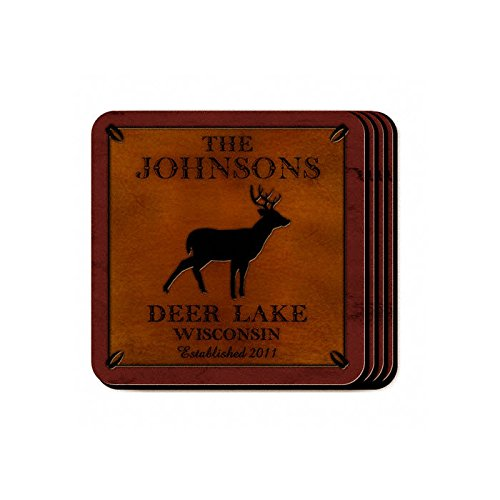 Personalized Cabin Series Stag Coaster Set - Cabin Coaster Set Series