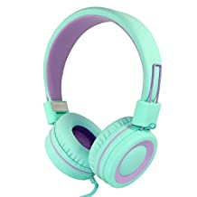 RockPapa Over Ear Adjustable Folding Foldable Headphones Headsets with Microphone for Smart Phones Android Tablets Computer iPad iPod MP3/4 DVD (Green/Purple)
