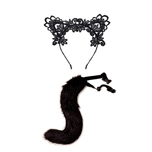 Funny Lace Cat Headband Headpiece Fox Tail for Halloween Party Prom Nightclub Costume Cosplay Love Gift ()