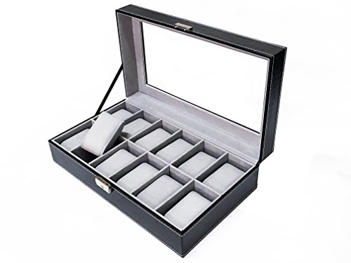 Sodynee-WBPU12-03-Watch-Dislpay-Box-Organizer-Pu-Leather-with-Glass-Top-Large-Black