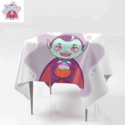 Fbdace Anti-Fading Tablecloths,Halloween Little Vampire Dracula Boy Kid with Smiling face in Halloween Costume with Pumpkin in his Hands Table Cover for Kitchen Dinning Tabletop Decoratio 60x60 Inch]()