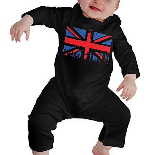 (UK Flag and Silhouettes Baby Girl Boys Long Sleeve Onesies Baby Romper)