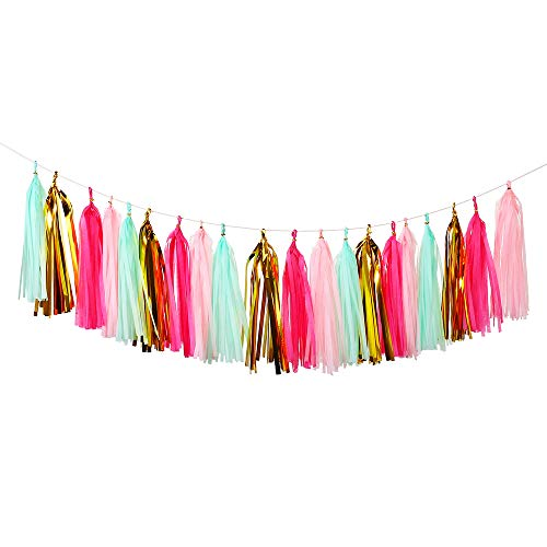 Bromose 20 PCS DIY Tissue Paper Tassel Party Garland, Fringe Garland Nursery Banner for Wedding, Baby Shower, First Birthday, Event & Party Decor