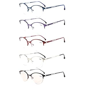 Eyekepper 5-Pack Quality Spring Hinges Half-Rim Cat-eye Style Reading Glasses Included Computer Glasses +1.75