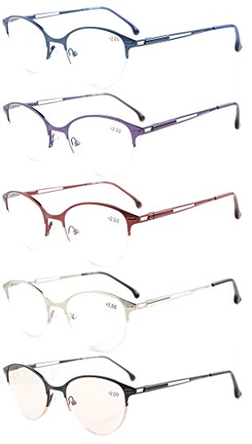 Eyekepper 5-Pack Quality Spring Hinges Half-Rim Cat-eye Style Reading Glasses Included Computer Glasses - Glasses Less Rim