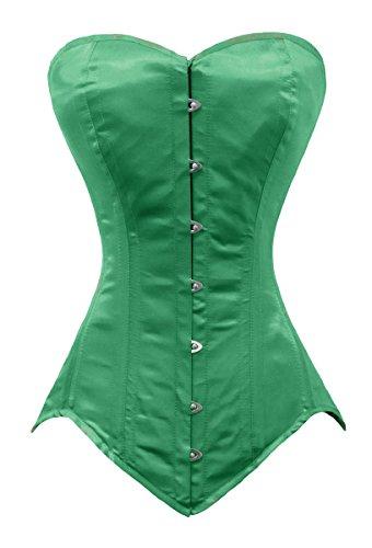 Luvsecretlingerie 26 Double Steel Bone Waist Training Satin Long Overbust Corset, Dark Green, XL/30 (For waist 34