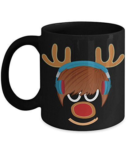Reindeer Face Funny Teenager Ceramic Coffee Mug Christmas Elk Funny Hot Chocolate Gift Antler Tea Cup for -
