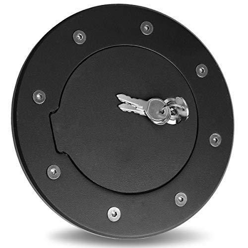 Maxiii Gas Fuel Tank Door Black Aluminum Fuel Gas Door Cap with Lock & Key Fit for 2003-2009 Hummer H2 GMT913
