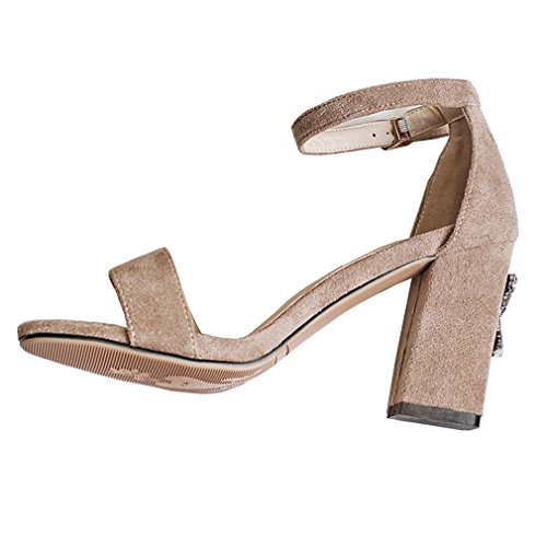 VECJUNIA Womens Fashionable Open Toe Chunky High Heel Ankle Strap Dress Sandals apricot