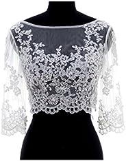 FIDDY898 V Back Beaded Lace Long Sleeve Wedding Jacekt Bridal Bolero