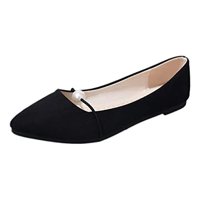 6942ebf929f57 Gtagain Women Shoes Pointed Toe - Ballet Flats Ladies Suede Pearl Loafers  Shoes Low Heel Elegant Slip-On Fashion Breathable Casual Party Dance Boat  Shoes