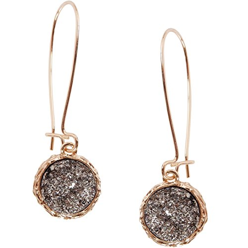 2 Inch Long Earrings - Humble Chic Simulated Druzy Threaders - Upside-Down Long Hoop Dangle Drop Earrings for Women, Simulated Hematite, Grey, Metallic, Silver-Tone, Gold-Tone