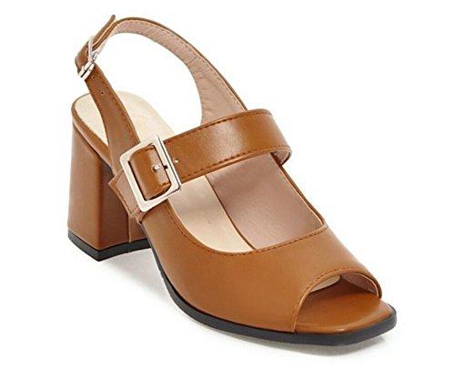 Xie De 34 7cm Khaki Para 34 antideslizante Verano Sandalias 37 42 boca hebilla calzado Romano Cinturón zapatos Brown Confort Pez Mujer 6rIrqZ